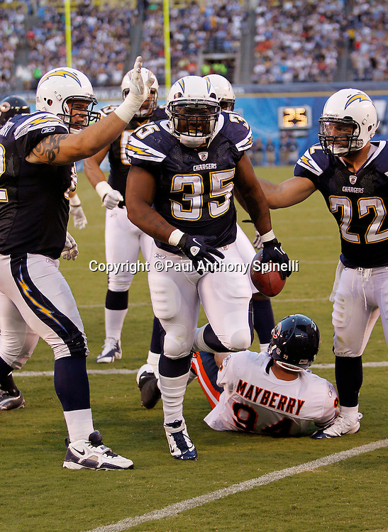San Diego Chargers fullback Mike Tolbert (35) celebrates after scoring  a second quarter touchdown on a one yard run that gives the Chargers a 14-10 lead during a NFL week 1 preseason football game against the Chicago Bears, Saturday, August 14, 2010 in San Diego, California. The Chargers won the game 25-10. (©Paul Anthony Spinelli)