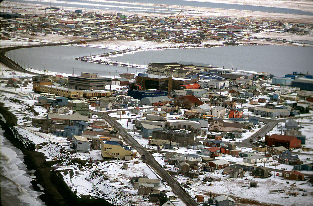 Aerial view over Barrow, Alaska with snow
