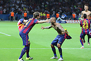 Barcelona Ivan Rakitić and Barcelona Daniel Alves during the Champions League Final between Juventus FC and FC Barcelona at the Olympiastadion, Berlin, Germany on 6 June 2015. Photo by Phil Duncan.