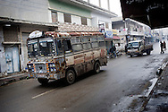 SYRIA - Al Qsair. An old bus in the streets of Al Qsair, on January 24, 2012. Al Qsair is a small town of 40000 inhabitants, located 25Km south-west of Homs. The town is besieged since the beginning of November and so far it counts 65 dead. ALESSIO ROMENZI