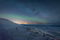 After a 35-minute ride on a chairlift in the dark, I arrived at the Aurora Sky Station, 1000 meters above sea level near the top of the mountain Nuolja. Below stretched out a panoramic view of the lake Torneträsk, the lights from Abisko village, and other peaks of the Scandinavian Mountains. The weather was ideal. Even though temperatures were at the lower limit in which the lift is allowed to operate, the skies were clear and the wind was calm. Unfortunately the aurora was calm as well. The northern lights danced a little on the ride up, then faded to a weak glow barely perceptible for the rest of the night. But I tried to make the most of my time up here by shooting this startrail image. I processed it in a way to fade the trails into the background while bringing out the colors of the faint green aurora band. Even though my camera was pointed due north, it was not possible to include the North Star in the shot, at least not without shooting vertically. In Arctic latitudes the North Celestial Pole is too high up in the sky.