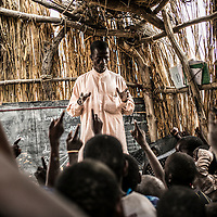 Dar Es Salam refugee camp, Lake region, Chad. <br /> <br /> Abouna Noukar, 29, is the only teacher of the community school in Forkouloum which registerded 110 students.<br /> <br /> <br /> Sylvain Cherkaoui/Cosmos for MSF