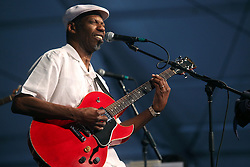 28 April 2012. New Orleans, Louisiana,  USA. .New Orleans Jazz and Heritage Festival. .Blues legend Walter 'Wolfman' Washington..Photo; Charlie Varley.