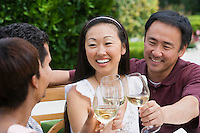Two couples toasting in garden