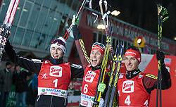 20.12.2015, Nordische Arena, Ramsau, AUT, FIS Weltcup Nordische Kombination, Langlauf, im Bild Podium v.l.: Jarl Magnus Riiber (NOR, 2. Platz, Sieger Eric Frenzel (GER) und Manuel Faisst (GER, 3. Platz) // Podium f.l.: 2nd placed Jarl Magnus Riiber of Norway, Winner Eric Frenzel of Germany and 3rd placed Manuel Faisst of Germany during Cross Country Competition of FIS Nordic Combined World Cup, at the Nordic Arena in Ramsau, Austria on 2015/12/20. EXPA Pictures © 2015, PhotoCredit: EXPA/ JFK
