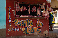 Open air meat market, Sancti Spiritus, Cuba 2020 from Santiago to Havana, and in between.  Santiago, Baracoa, Guantanamo, Holguin, Las Tunas, Camaguey, Santi Spiritus, Trinidad, Santa Clara, Cienfuegos, Matanzas, Havana