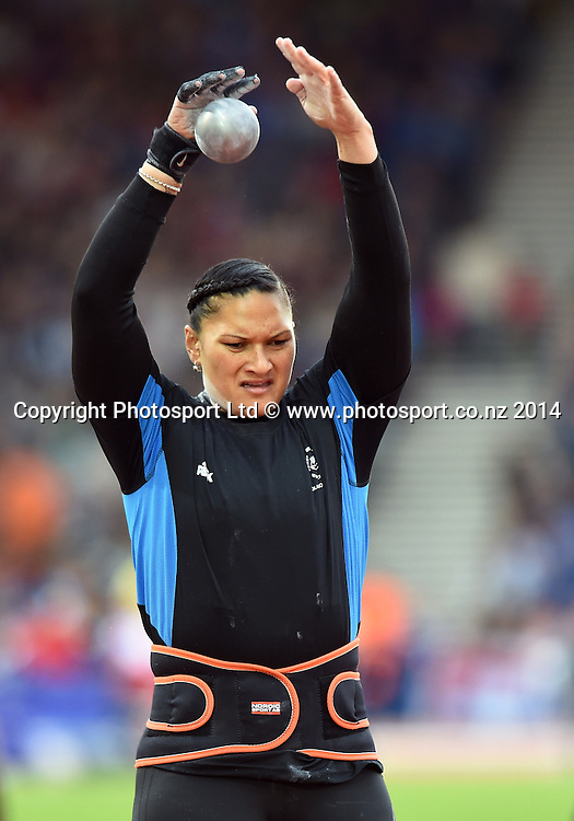 New Zealand's Valerie Adams who won gold in the Women's Shot Put warms up for the competition. Track and Field at Hampden Park. Glasgow Commonwealth Games 2014. Wednesday 30 July 2014. Scotland. Photo: Andrew Cornaga/www.Photosport.co.nz