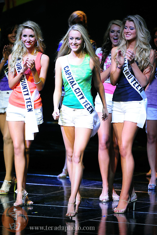 "November 22, 2009; Rancho Mirage, CA, USA; Miss Capital City Teen USA Alexandra Ritschard smiles after being announced a Top 15 finalist during the Miss California Teen USA 2010 Pageant at ""The Show"" at the Agua Caliente Resort & Spa. Mandatory Credit: Kyle Terada-Terada Photo"