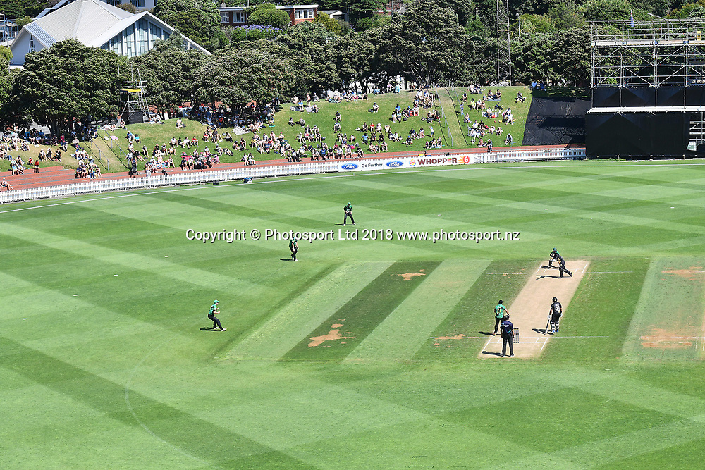 General View of the Basin Reserve Cricket Ground during the Burger King Super Smash game between Wellington Firebirds v Central Stags, Basin Reserve, Wellington, Sunday 14th Janurary 2018. Copyright Photo: Raghavan Venugopal / © www.Photosport.nz 2018