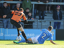 Eastleigs Dan Spence brings down Barnets Adam Mekki, Barnet v Eastleigh, Vanarama Conference, Saturday 4th October 2014