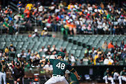 Oakland Athletics starting pitcher Daniel Gossett (48) pitches against the San Francisco Giants at Oakland Coliseum in Oakland, California, on March 25, 2018. (Stan Olszewski/Special to S.F. Examiner)