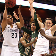 Kaleena Mosqueda-Lewis, UConn, shoots during the UConn Huskies Vs USF Bulls Basketball Final game at the American Athletic Conference Women's College Basketball Championships 2015 at Mohegan Sun Arena, Uncasville, Connecticut, USA. 9th March 2015. Photo Tim Clayton