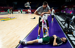 Martin Klesnik, physiotherapist and Gasper Vidmar of Slovenia at practice session of Team Slovenia 1 day before final match against Serbia at Day 17 of FIBA EuroBasket 2017 at Sinan Erdem Dome in Istanbul, Turkey on September 16, 2017. Photo by Vid Ponikvar / Sportida