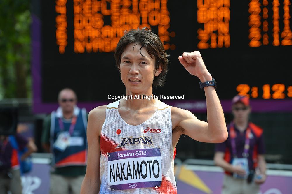 Kentaro Nakamoto (JPN), <br /> AUGUST 12, 2012 - Marathon : <br /> Kentaro Nakamoto of Japan poses after finishing the Men's Marathon at The Mall <br /> during the London 2012 Olympic Games in London, UK. <br />  (Photo by Jun Tsukida/AFLO SPORT) [0003]