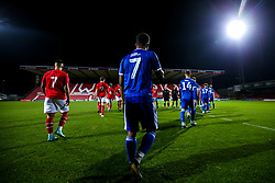 Bristol Rovers Under 18s and Swindon Town Under 18s walk out onto the County Ground pitch for their FA Youth Cup 1st round fixture - Mandatory by-line: Robbie Stephenson/JMP - 29/10/2019 - FOOTBALL - County Ground - Swindon, England - Swindon Town v Bristol Rovers - FA Youth Cup Round One