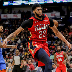 Dec 12, 2018; New Orleans, LA, USA; New Orleans Pelicans forward Anthony Davis (23) reacts after a dunk against the Oklahoma City Thunder during the second half at the Smoothie King Center. Mandatory Credit: Derick E. Hingle-USA TODAY Sports