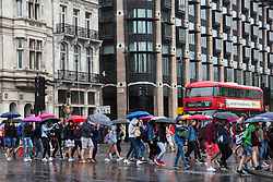 London, UK. 19 July, 2019. Tourists with umbrellas and in rainwear brave heavy rain close to the Houses of Parliament in Westminster.