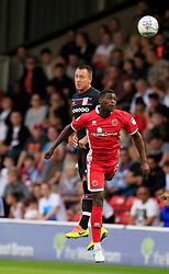 John Terry of Aston Villa wins a header from Amadou Bakayoko of Walsall - Mandatory by-line: Paul Roberts/JMP - 18/07/2017 - FOOTBALL - Bescot Stadium - Walsall, England - Walsall v Aston Villa -  Pre-season friendly