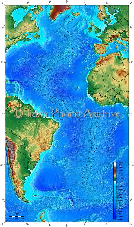 Map showing ocean floor with the Mid-Atlantic ridge