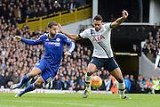 Tottenham Hotspur midfielder Mousa Dembele and Chelsea midfielder Eden Hazard battle during the Barclays Premier League match between Tottenham Hotspur and Chelsea at White Hart Lane, London, England on 29 November 2015. Photo by Alan Franklin.