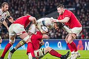 Twickenham, Surrey. UK.  Courtney LAWES, on the attack, taking three Welsh defenders to halt his charge, during the Six Nations Rugby Match, England vs Wales RFU Stadium, Twickenham. Surrey, England. on Saturday 10.02.18<br /> <br /> <br /> [Mandatory Credit Peter SPURRIER/Intersport Images]