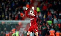 Football - 2019 / 2020 Premier League - Liverpool vs. Sheffield United<br /> <br /> Jordan Henderson of Liverpool celebrates after the match at Anfield.<br /> <br /> COLORSPORT/LYNNE CAMERON