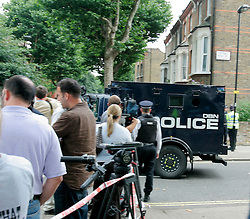 UK ENGLAND LONDON 22JUL05 - An armoured police vehicle leaves the scene of a shooting incident in Maida Vale, West London. Metropolitan Police have cordoned off following an incident on a No. 18 bus on the Harrow Road. Apparently shots were fired as two suspected bombers fled the scene...jre/Photo by Jiri Rezac ..© Jiri Rezac 2005..Contact: +44 (0) 7050 110 417.Mobile:  +44 (0) 7801 337 683.Office:  +44 (0) 20 8968 9635..Email:   jiri@jirirezac.com.Web:    www.jirirezac.com..© All images Jiri Rezac 2005 - All rights reserved.