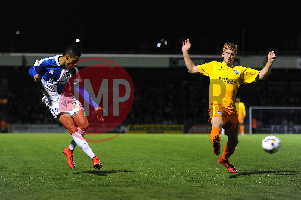 Daniel Leadbitter of Bristol Rovers crosses the ball - Mandatory byline: Dougie Allward/JMP - 07966 386802 - 06/10/2015 - FOOTBALL - Memorial Stadium - Bristol, England - Bristol Rovers v Wycombe Wanderers - JPT Trophy