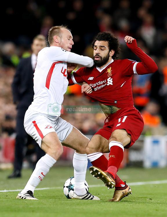 Spartak Moscow's Denis Glushakov (left) and Liverpool's Mohamed Salah battle for the ball