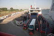Unloading lorries onto Ro-Ro cargo ship, Hook of Holland ferry terminal, Port of Rotterdam, Netherlands