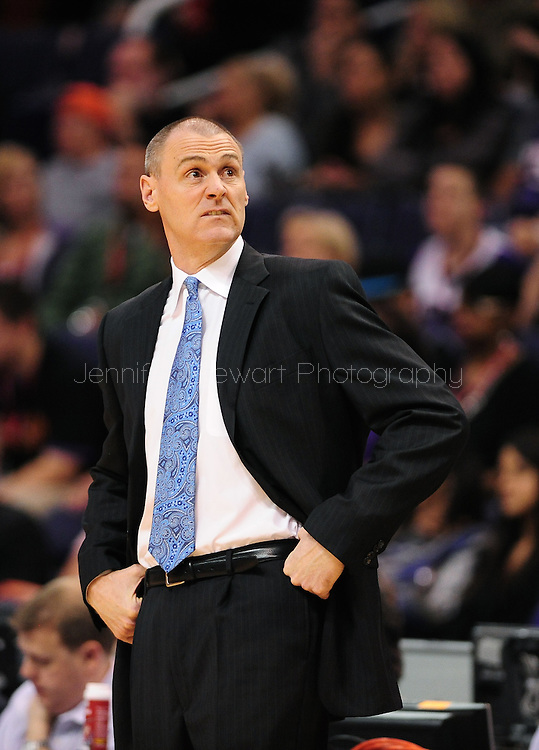 Mar. 08, 2012; Phoenix, AZ, USA;  Dallas Mavericks head coach Rick Carlisle reacts while on the sidelines during a game against the Phoenix Suns at the US Airways Center.  The Suns defeated the Mavericks 96-94. Mandatory Credit: Jennifer Stewart-US PRESSWIRE..