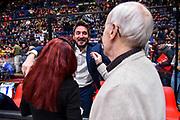Gianmarco Pozzecco, Dan Peterson, Laura Verga<br /> A|X Armani Exchange Olimpia Milano - Banco di Sardegna Dinamo Sassari<br /> Legabasket LBA Serie A 2019-2020<br /> Sassari, 16/11/2019<br /> Foto L.Canu / Ciamillo-Castoria