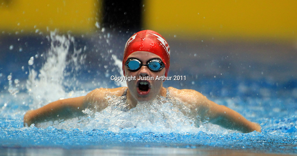 Olivia Corrin competes in the girls 10 & under 50m butterfly during the 2011  New Zealand Junior Swimming Championships, Day 1, Wellington Aquatics Centre, Kilbirnie, Wellington on Saturday, 19 February 2011. Photo: Justin Arthur/photosport.co.nz