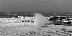 Storm and surf at the harbour in Grimsey, north of Iceland - Stormur og öldur við höfnina  í Grímsey
