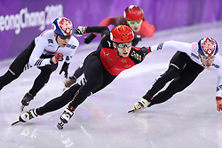 PYEONGCHANG, Feb. 22, 2018  Wu Dajing (C) of China competes during men's 500m final of short track speed skating at the 2018 PyeongChang Winter Olympic Games at Gangneung Ice Arena, Gangneung, South Korea, Feb. 22, 2018. Wu Dajing claimed gold medal in a time of 0:39.584 and set new world record. (Credit Image: © Han Yan/Xinhua via ZUMA Wire)