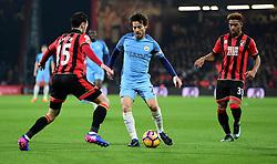 David Silva of Manchester City looks to take on Adam Smith of Bournemouth - Mandatory by-line: Alex James/JMP - 13/02/2017 - FOOTBALL - Vitality Stadium - Bournemouth, England - Bournemouth v Manchester City - Premier League