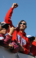 PHILADELPHIA, PA - OCTOBER 31: Philadelphia Phillies Shane Victorino waves to the crows during the World Championship Parade October 31, 2008 in Philadelphia, Pennsylvania. The Phillies defeated the Tampa Bay  Rays to win their first World Series in 28 years. (Photo by William Thomas Cain/Getty Images)