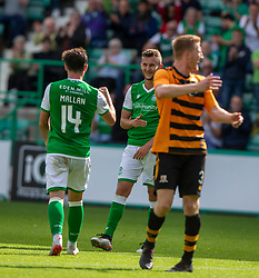 Hibernian's Tom James cele scoring their second goal. Hibernian 2 v 0 Alloa Athletic, Betfred Cup game played Saturday 20th July at Easter Road, Edinburgh.