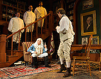 """The Butlers standing (Brent Alan Burington, Nicholas Wilder and James Hesse) with Ben Franklin (Molly Parker Myers) and Israel Potter (Mike Newman) during a scene from tech rehearsal for """"The Almost True and Truly Remarkable Adventures of Israel Potter, American Patriot"""" at the Winnipesaukee Playhouse on Tuesday afternoon.  (Karen Bobotas/for the Laconia Daily Sun)"""