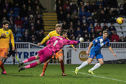 Matt Ingram (goalkeeper) of Wycombe Wanderers punches the ball clear during the Sky Bet League 2 match between Hartlepool United and Wycombe Wanderers at Victoria Park, Hartlepool, England on 16 January 2016. Photo by George Ledger.