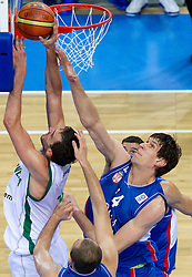 Mirza Begic of Slovenia vs Boban Marjanovic of Serbia during basketball game between National basketball teams of Slovenia and Serbia in 7th place game of FIBA Europe Eurobasket Lithuania 2011, on September 17, 2011, in Arena Zalgirio, Kaunas, Lithuania. (Photo by Vid Ponikvar / Sportida)