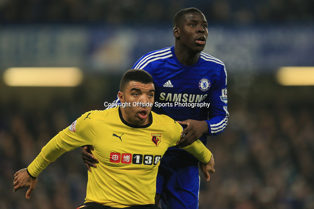 4 January 2015 - The FA Cup 3rd Round - Chelsea v Watford - Troy Deeney of Watford tangles with Kurt Zouma of Chelsea - Photo: Marc Atkins / Offside.
