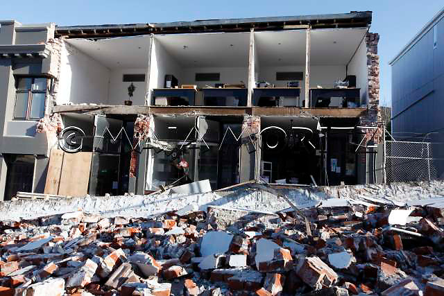 Earthquake damage to buildings on Oxford Street, Lyttelton