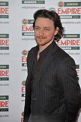 © under license to London News Pictures. James McAvoy poses for photographs at the arrivals for this years Empire Film Awards at The Grosvenor House Hotel in London .Photo credit should read Theodore Wood/LNP