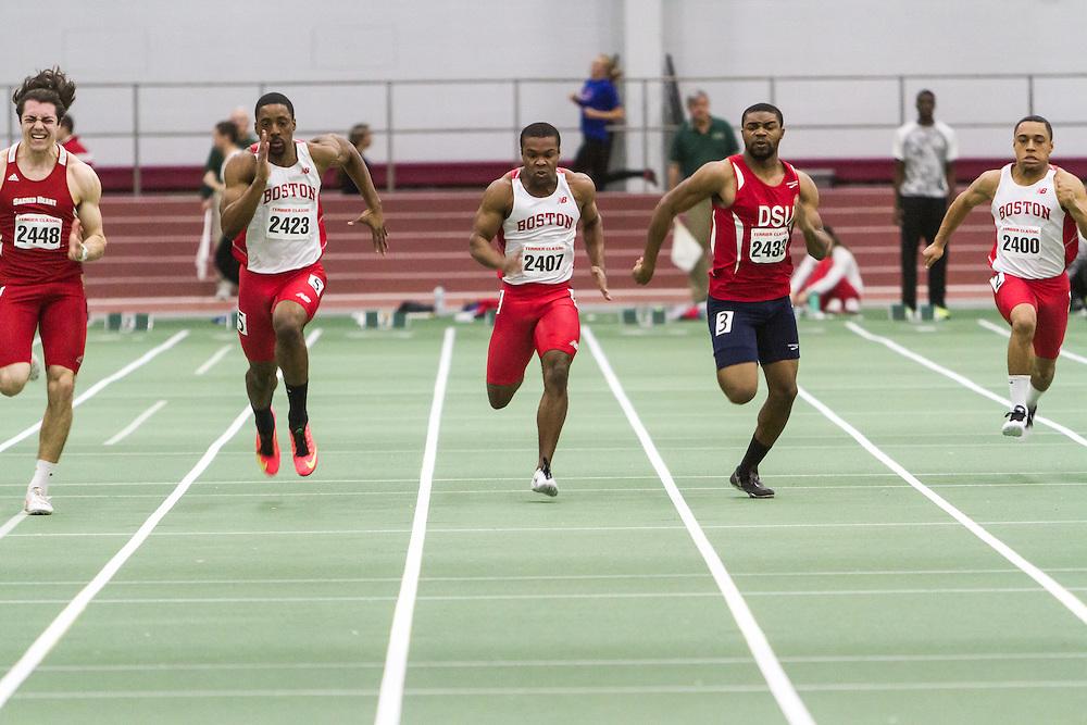 Boston University Multi-team indoor track & field, men 60 meter final, Cam Williams, BU, wins