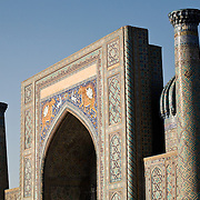Sher Dor Medrassa in Samarkand's Registan, in early evening