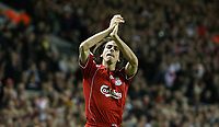 Photo: Paul Thomas/Sportsbeat Images.<br /> Liverpool v Besiktas. UEFA Champions League. 06/11/2007.<br /> <br /> Yossi Benayoun of Liverpool celebrates his third goal.