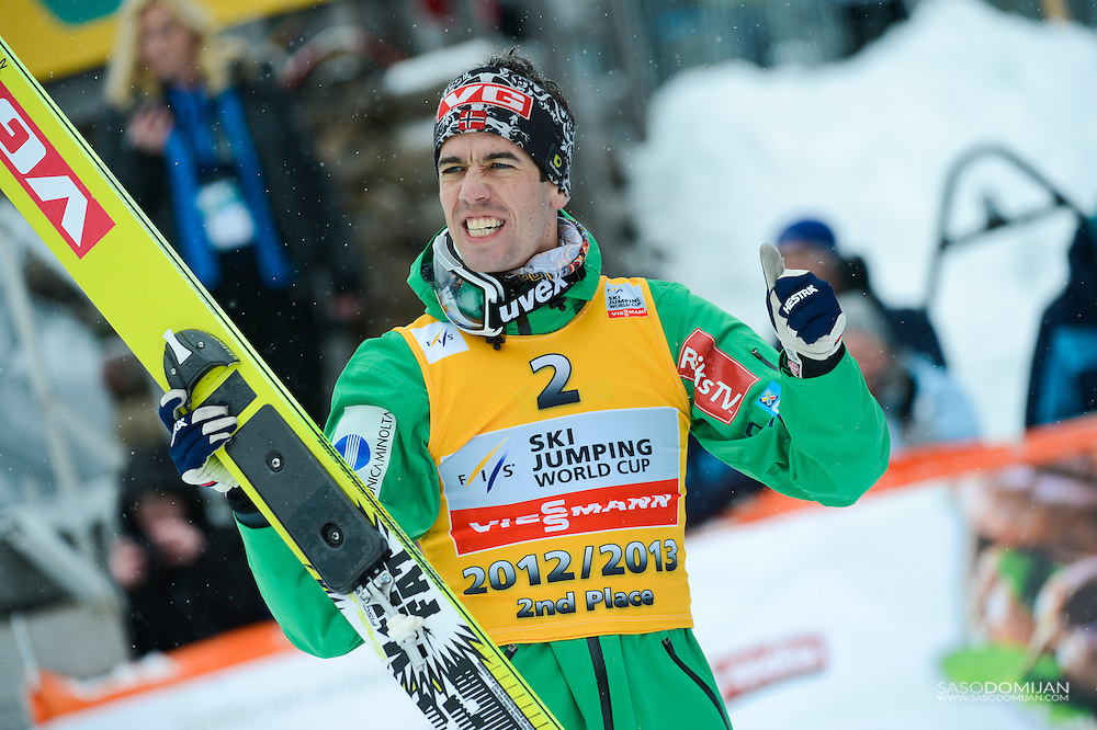 Ski jumper Anders Bardal of Norway second place in overall world cup standings at the podium of FIS World Cup Ski Jumping finals 2012-2013 in Planica, Slovenia.