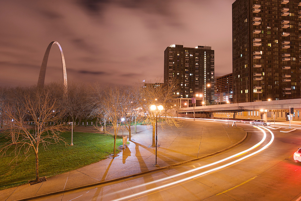 The St. Louis Arch is lit at night, creating a spectacular display and also contributing to the light pollution that is common in and around all major metropolitan ares.