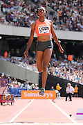 Lorraine Ugen of Great Britain in the long jump during the Sainsbury's Anniversary Games at the Queen Elizabeth II Olympic Park, London, United Kingdom on 25th July 2015. Photo by Ellie Hoad.